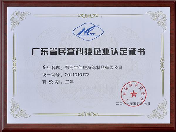 佳盛海绵-广东省民营科技企业认定证书